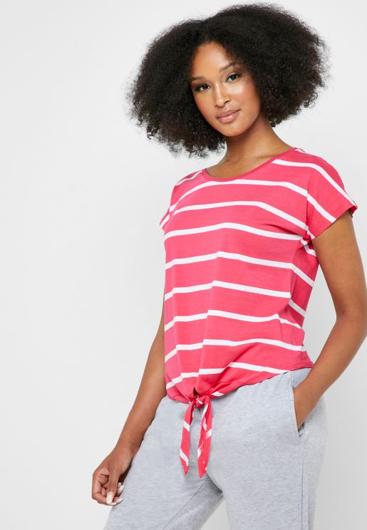Striped Tie Hem Pyjama Top