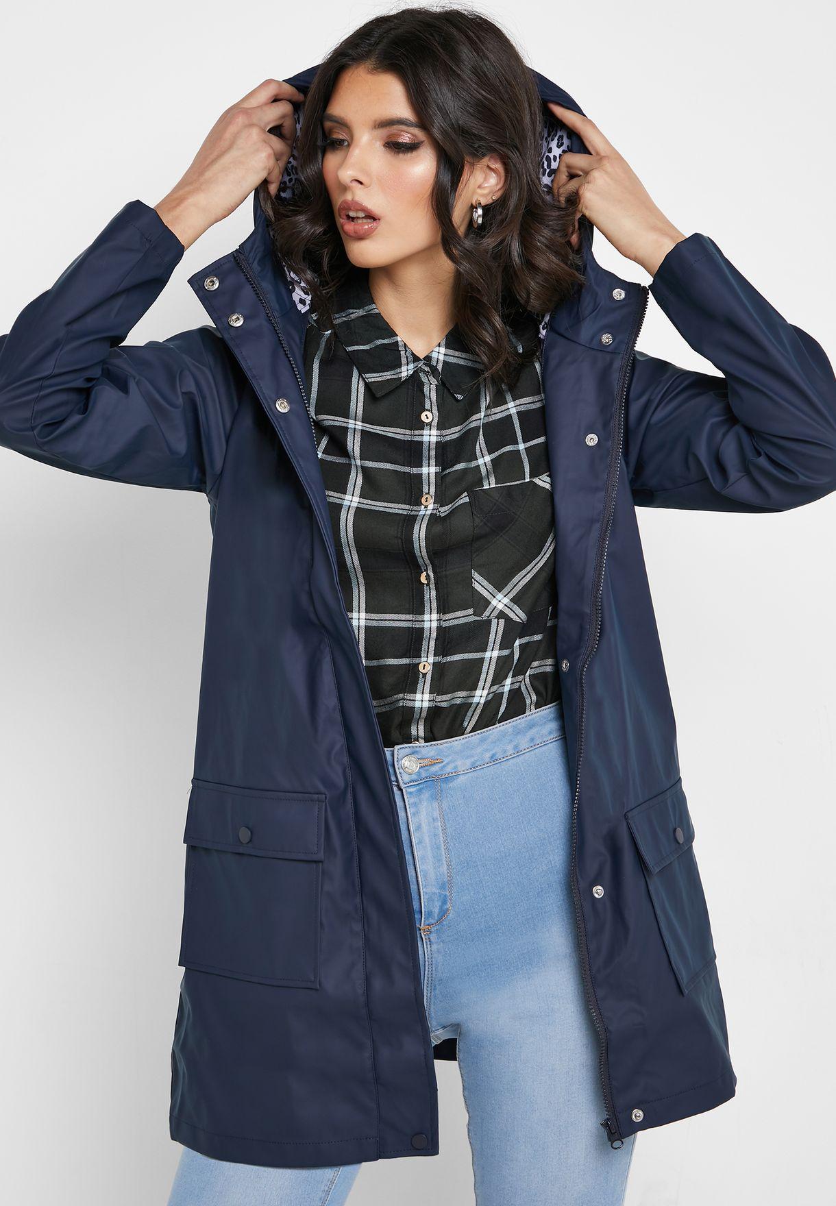 Pocket Detail Hooded Raincoat