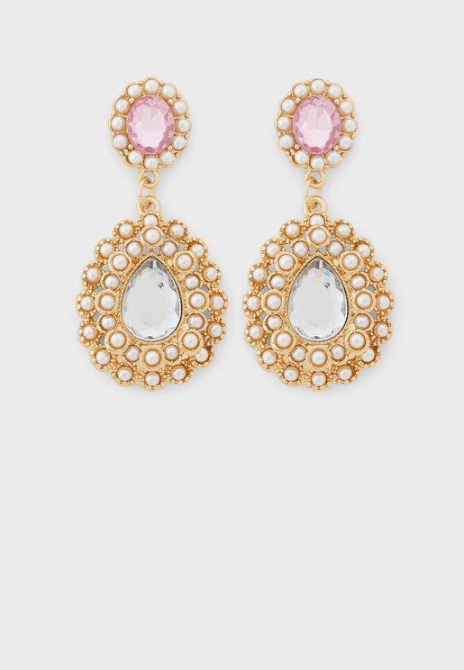 Pearl And Jewel Teardop Earrings