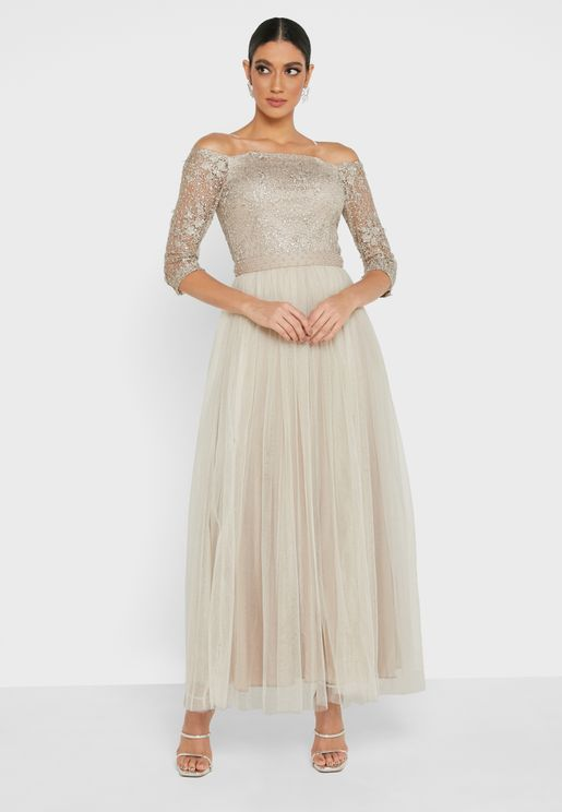 Lace Detail Off Shoulder Dress