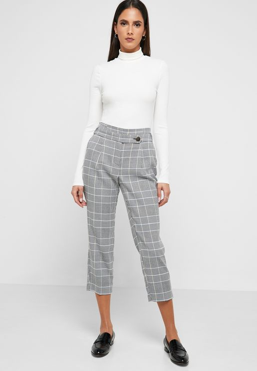 Checked Tapered Leg Pants