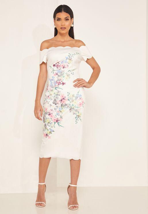 Trixiiy Bardot Printed Bodycon Dress