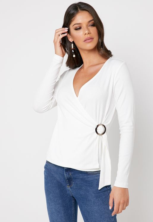 Buckle Detail Wrap Top