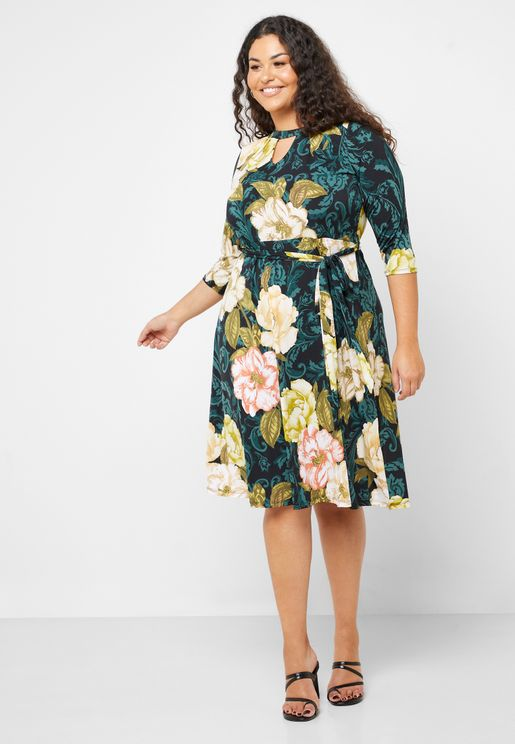 Front Bow Floral Print Dress
