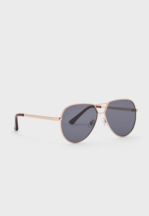 Oversize Wire Frame Aviator Sunglasses