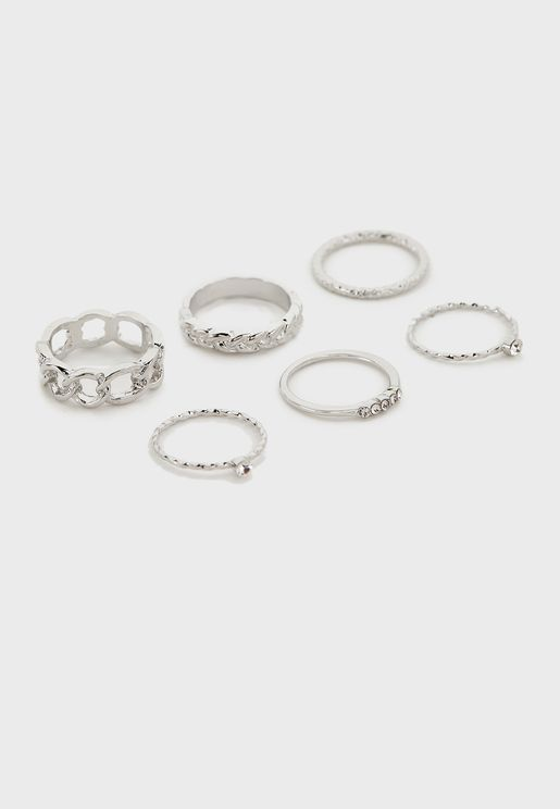 Pack Of 5 Stone And Engraved Rings