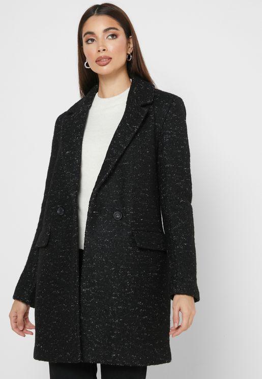 معطف طويل بزر واحد