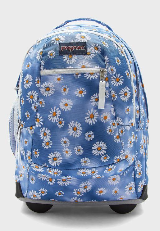 Flower Print Wheeled  Backpack