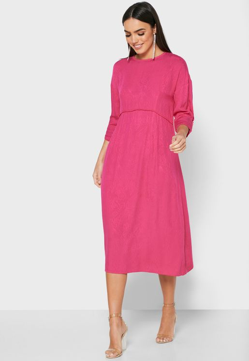 Pleat Detail Jacquard Dress