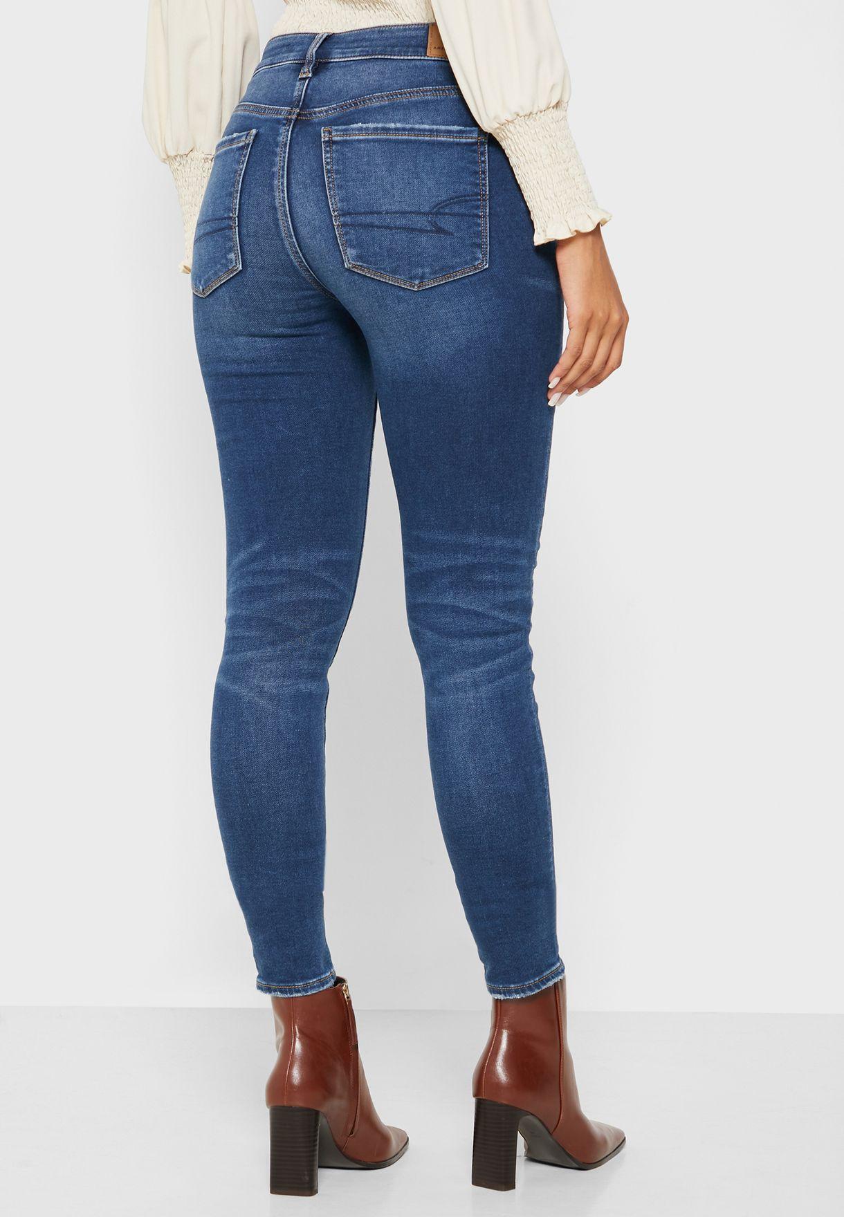 جينز ضيق بنمط ممزق