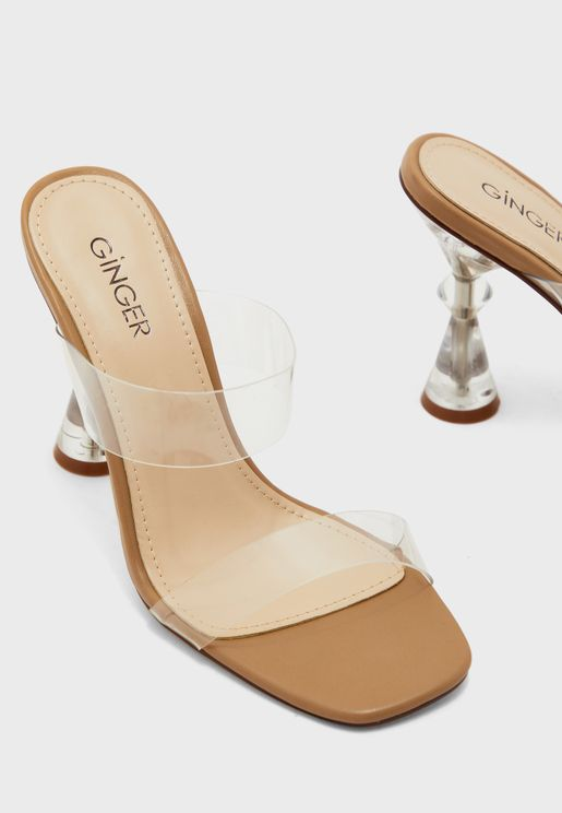 Clear Strap feature heel sandal
