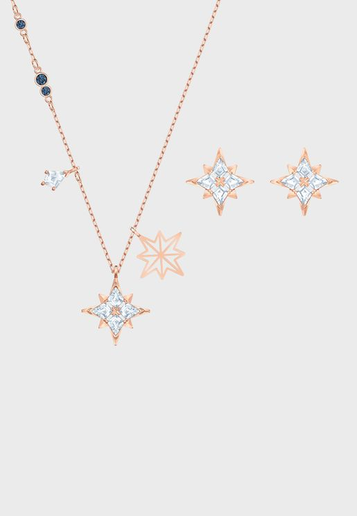 Swa Symbol Star Necklace+Earrings Set