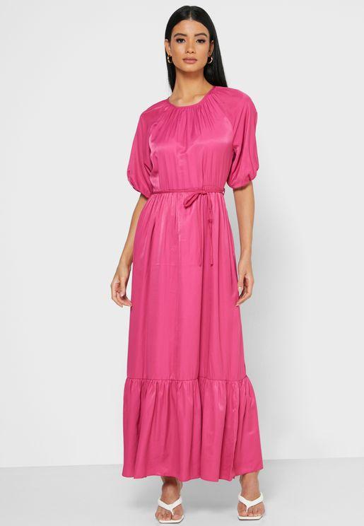 Self Tie Tiered Maxi Dress