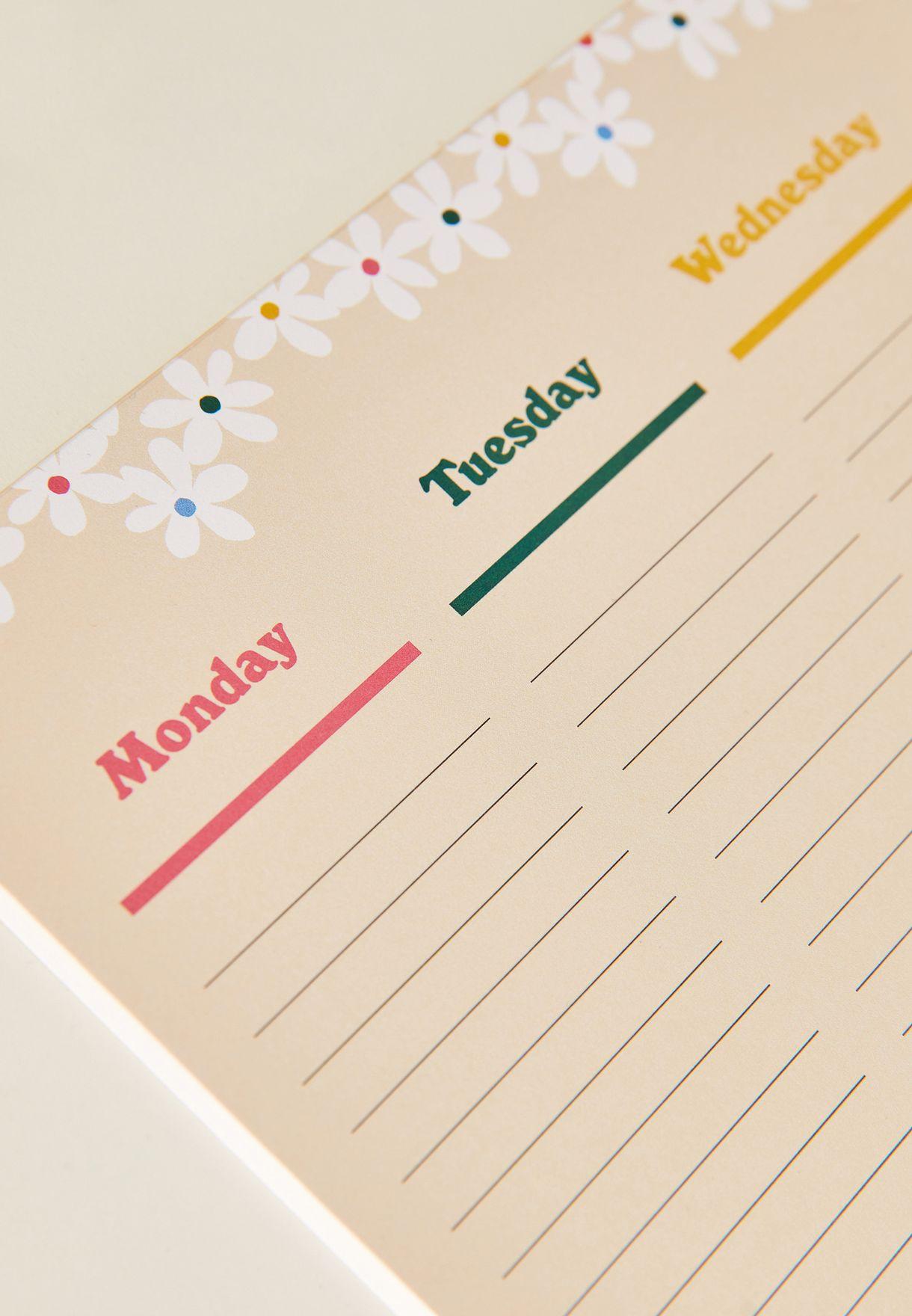 دفتر تخطيط اسبوعي بدون تاريخ