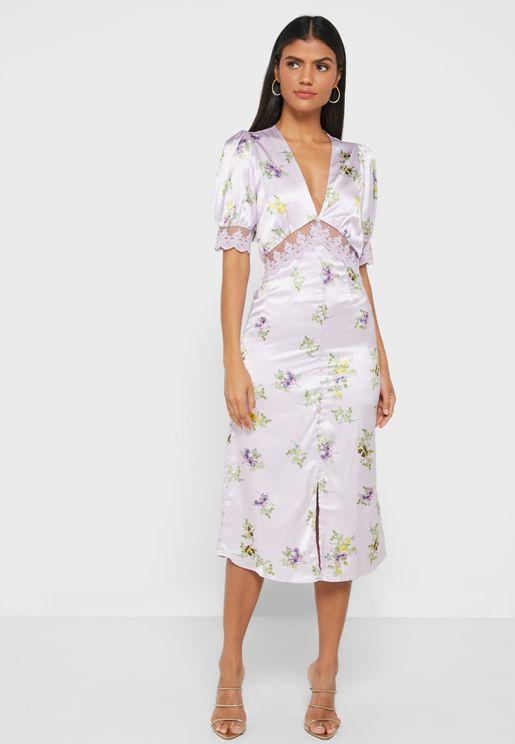 Callie Lace Trim Front Slit Dress
