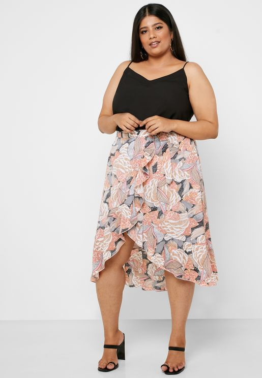 Abstract Print Wrap Midi Skirt