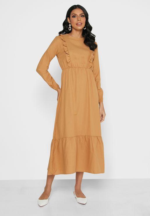 Ruffle Detail Shirred Dress