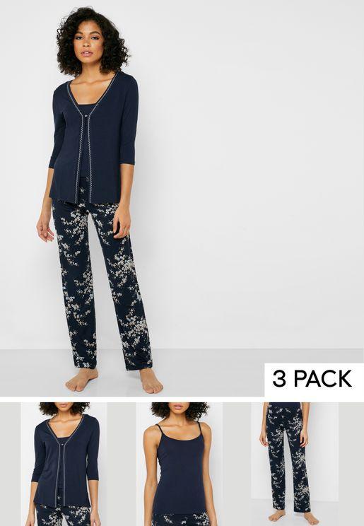 Lace Trim Robe & Printed Pyjama 3 Piece Set