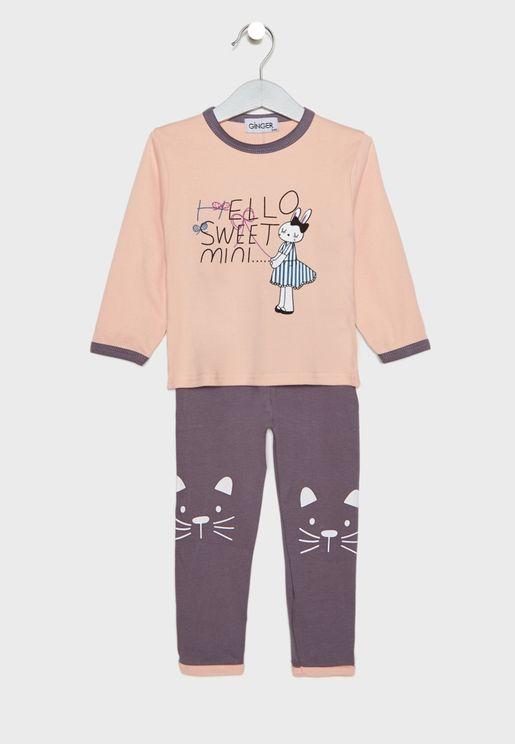 Bunny Print Pyjama Set