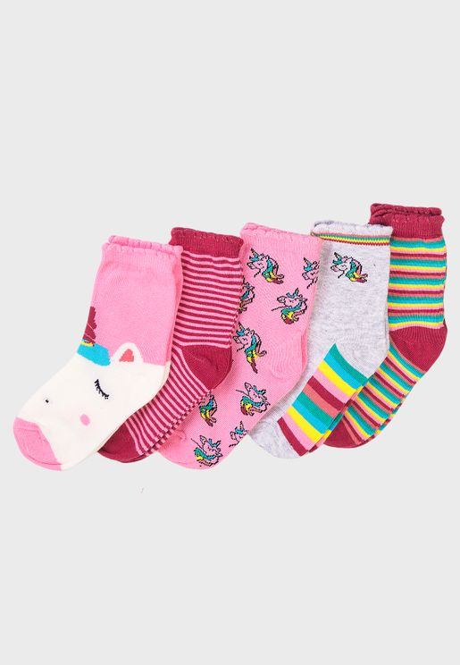 Kids 5 Pack Unicorn Stripe Socks