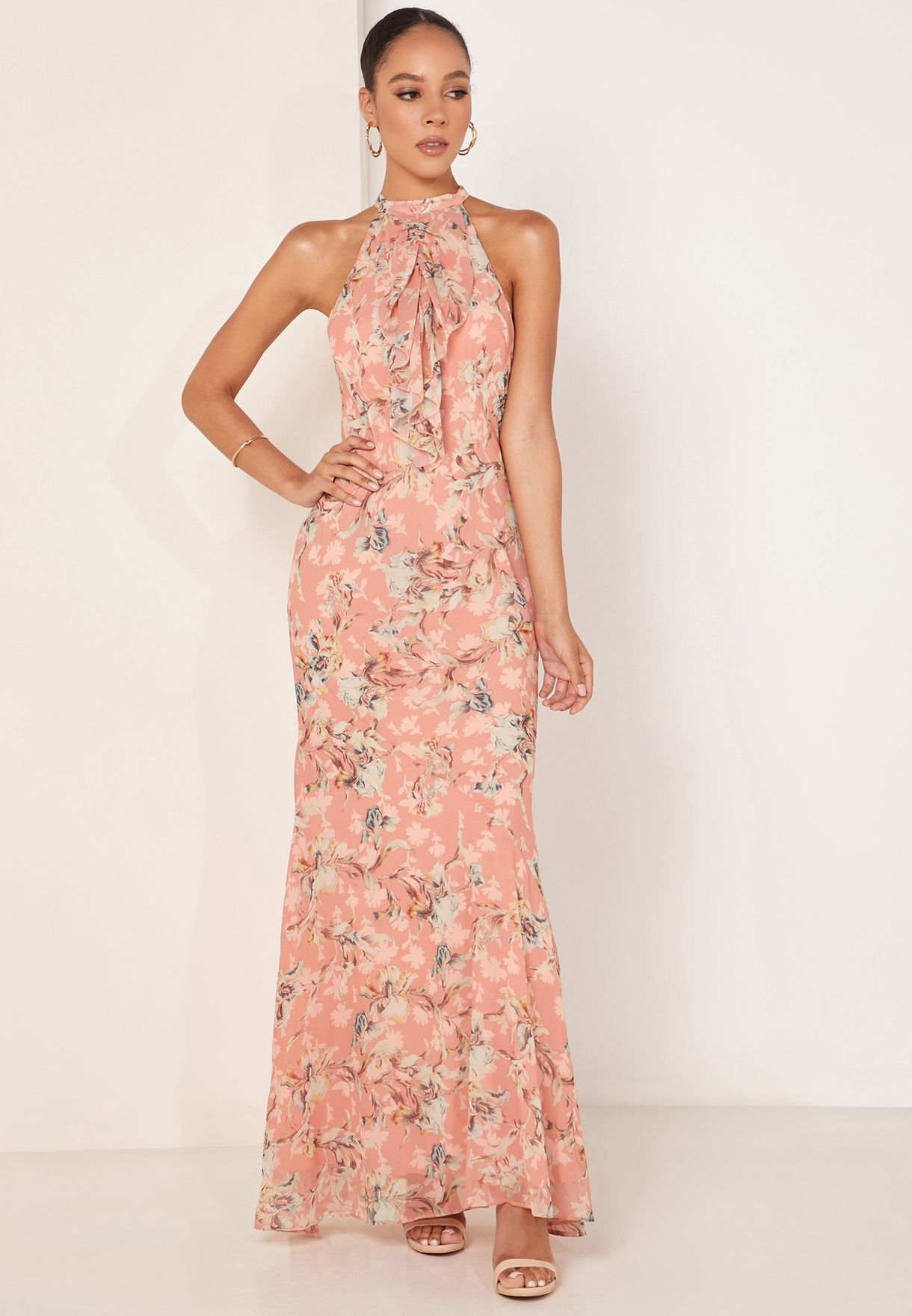 Unravel Ruffle Detail Floral Print Gown