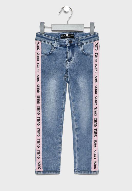 Kids Side Logo Stripe Jeans