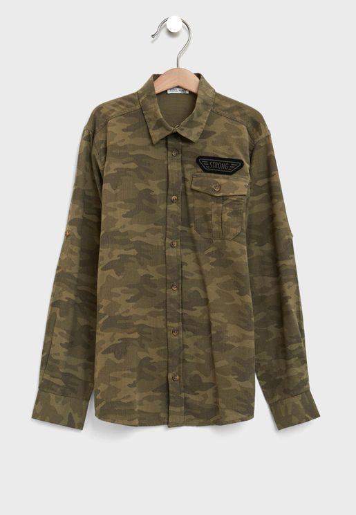 قميص بطبعات جيش للاطفال