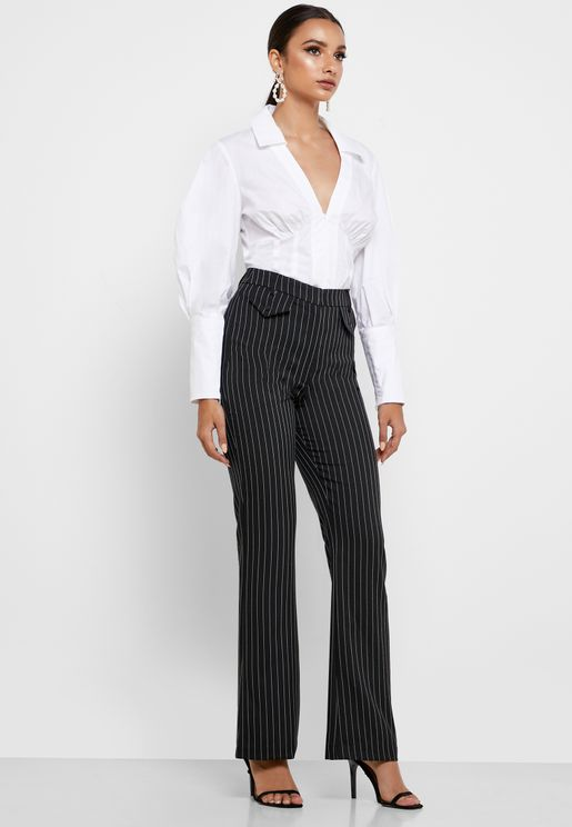 High Waist Pinstripe Pants