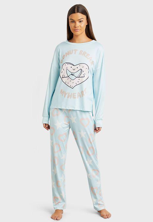 Donut Break My Heart Slogan T-Shirt And Printed Pyjama Set