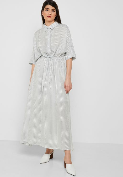 Shirt Self Tie Maxi Dress