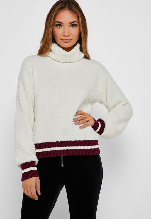 Roll Neck Striped Hem Sweater