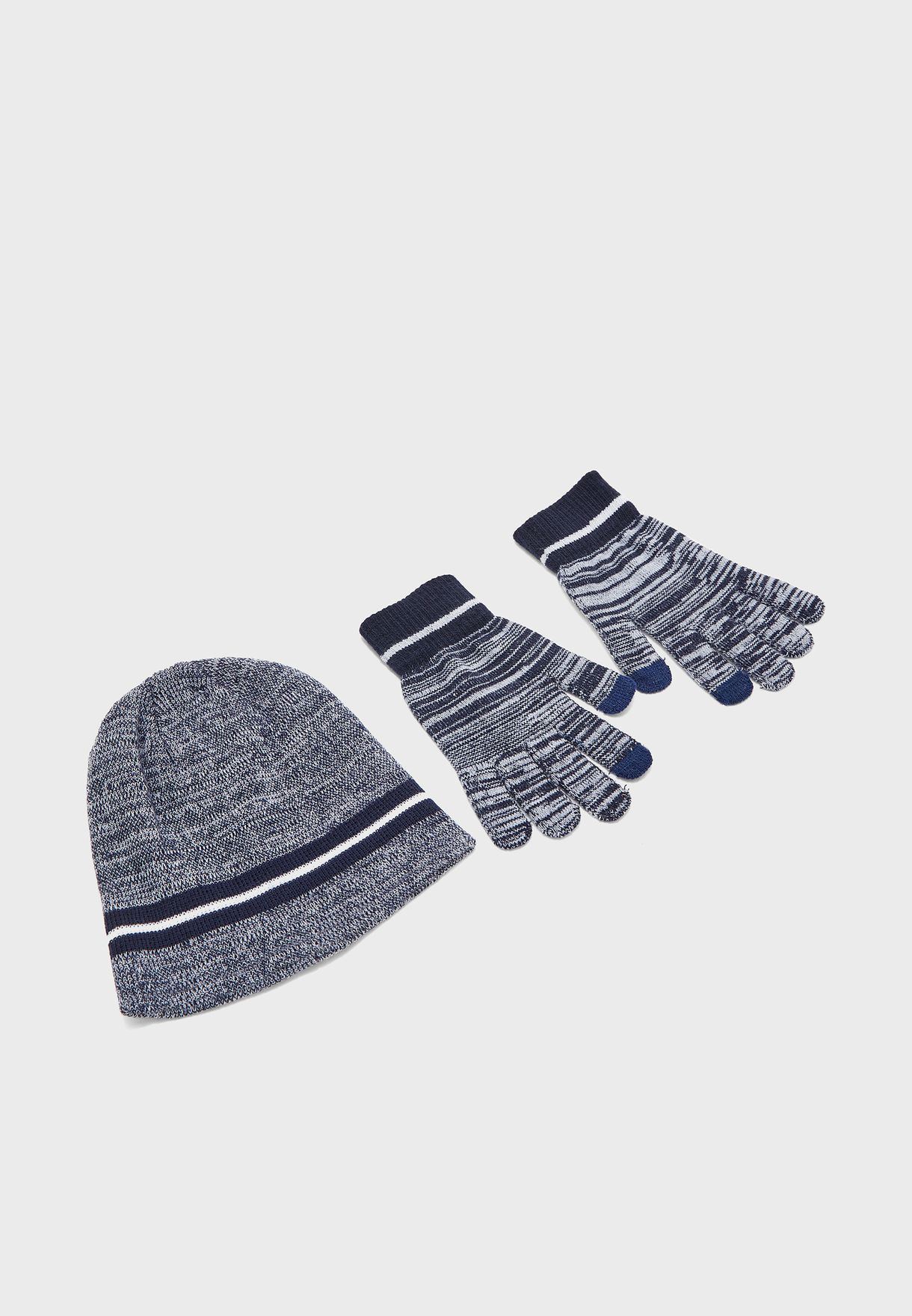 MENS HAT AND TOUCHSCREEN GLOVE SET