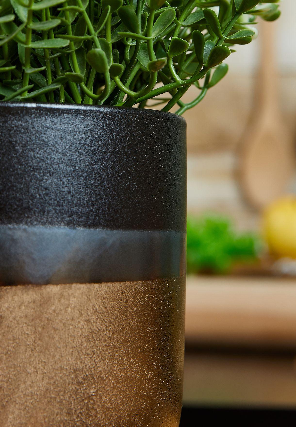 Nixon Stoneware Black & Metallic Finish Planter