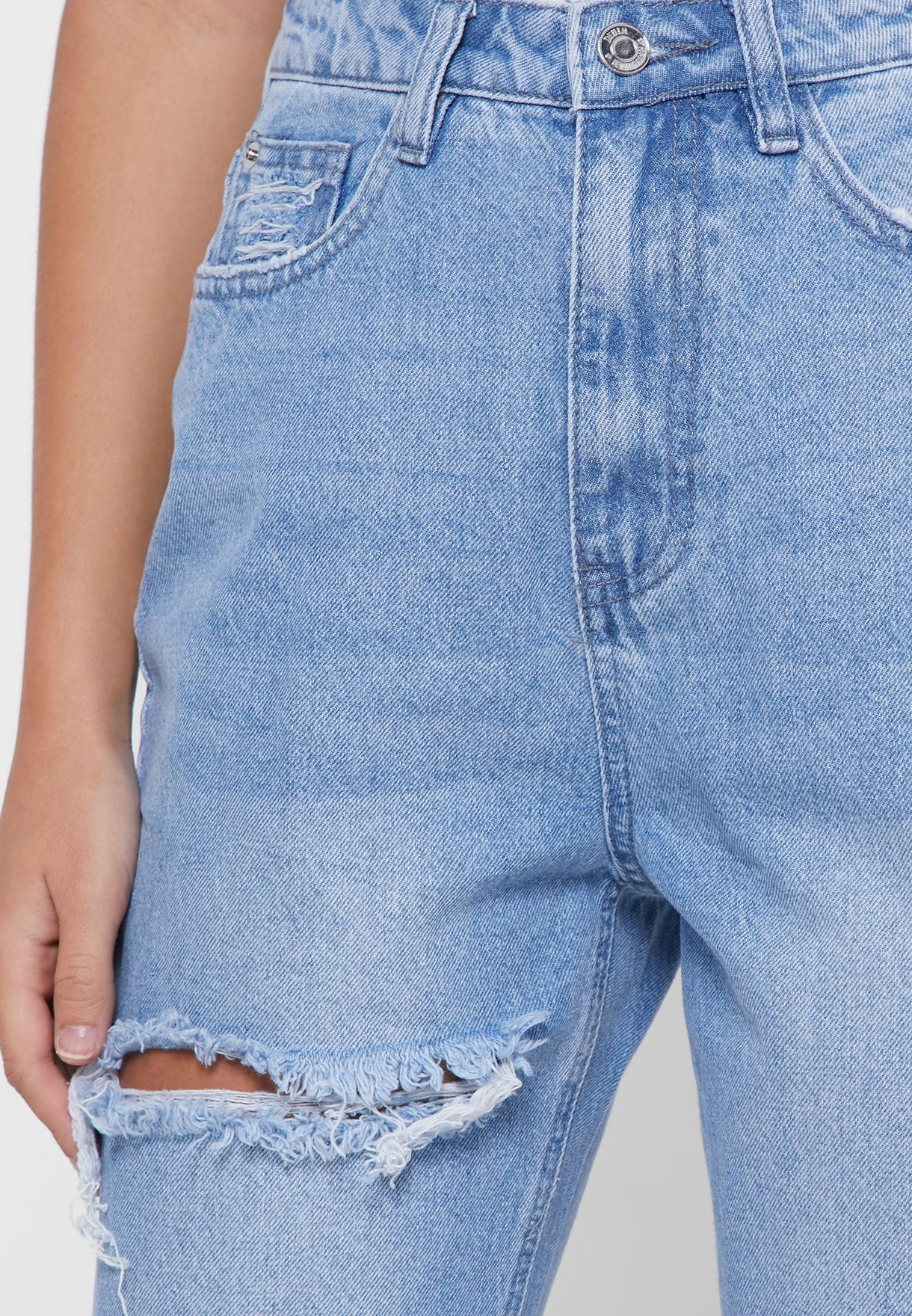 High Waisted Ripped Straight Jeans