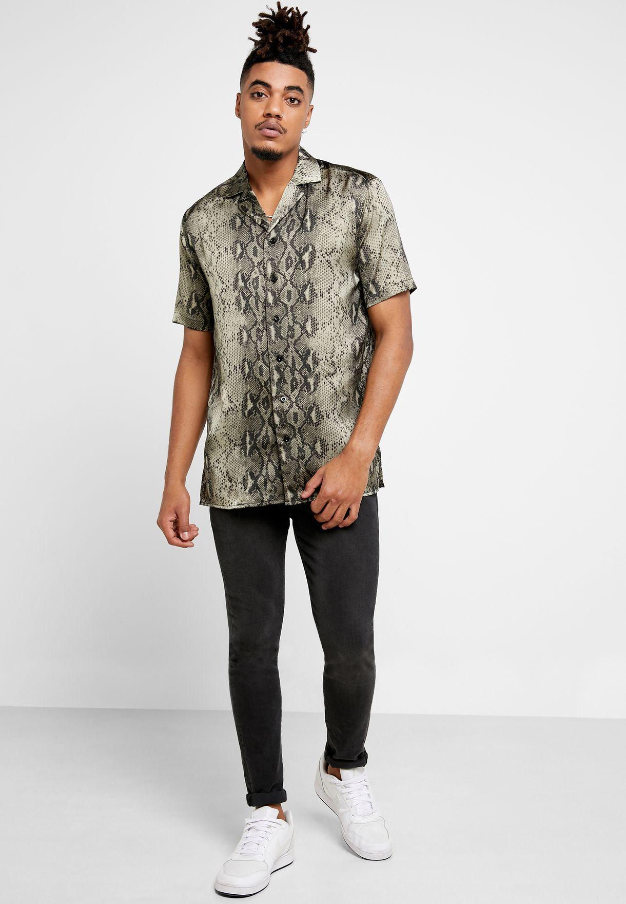 Snake Print Resort Shirt