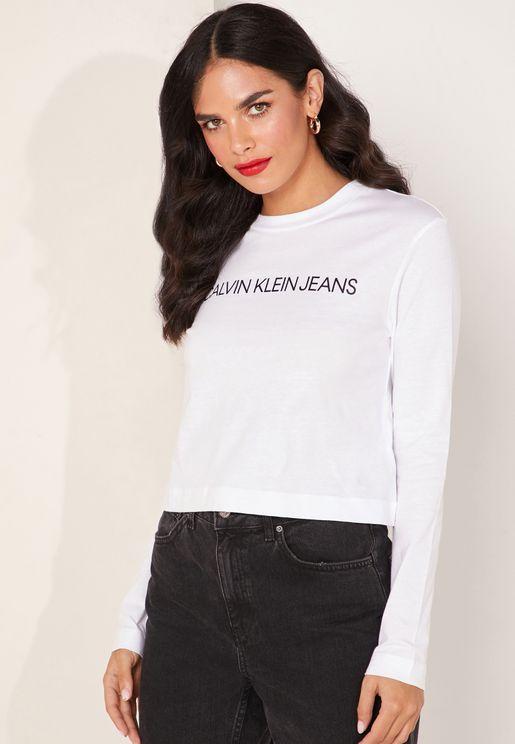 71e854828700 Institutional Logo Crop Long Sleeve T-Shirt. PREMIUM. Calvin Klein Jeans