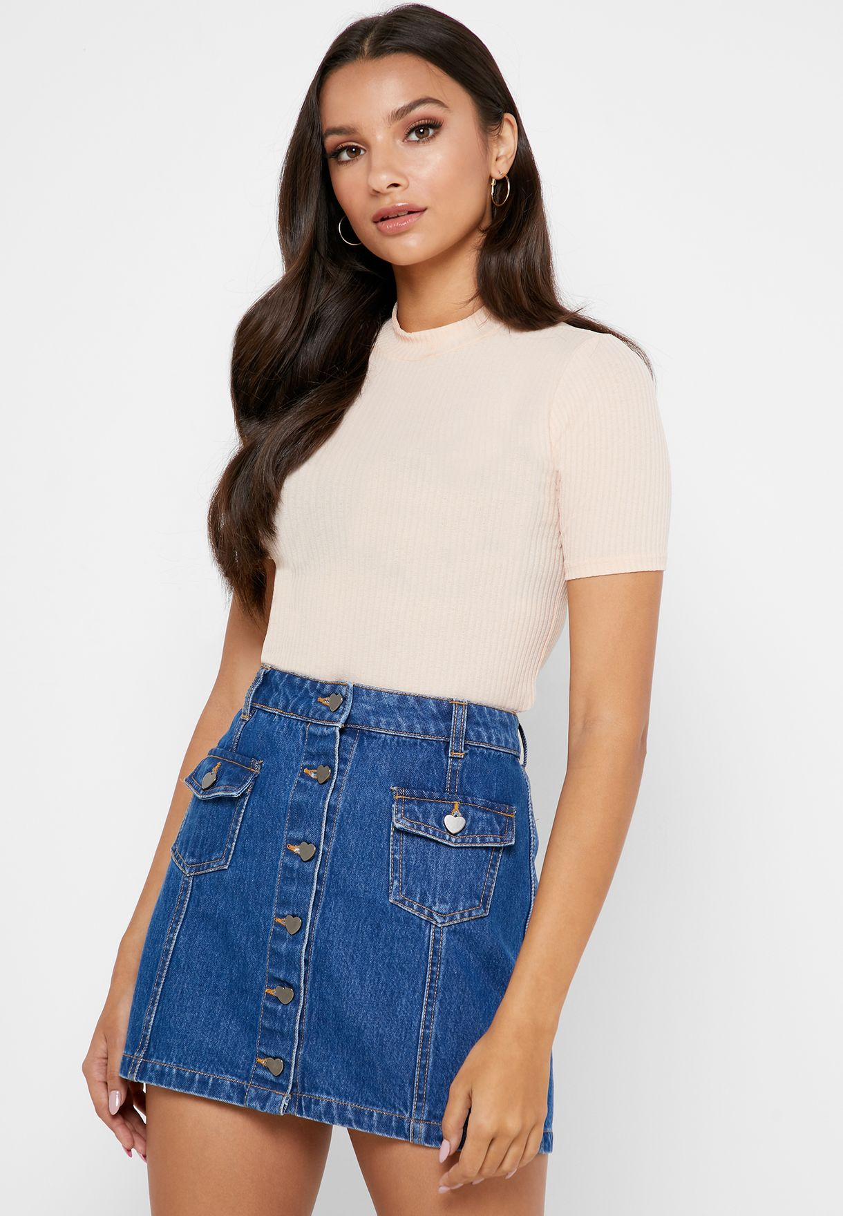 Funnel Neck Crop Top