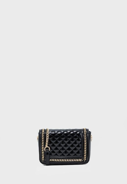 Embellished Detail Quilted Crossbody