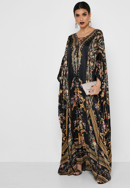 In Flora Printed Kaftan Dress
