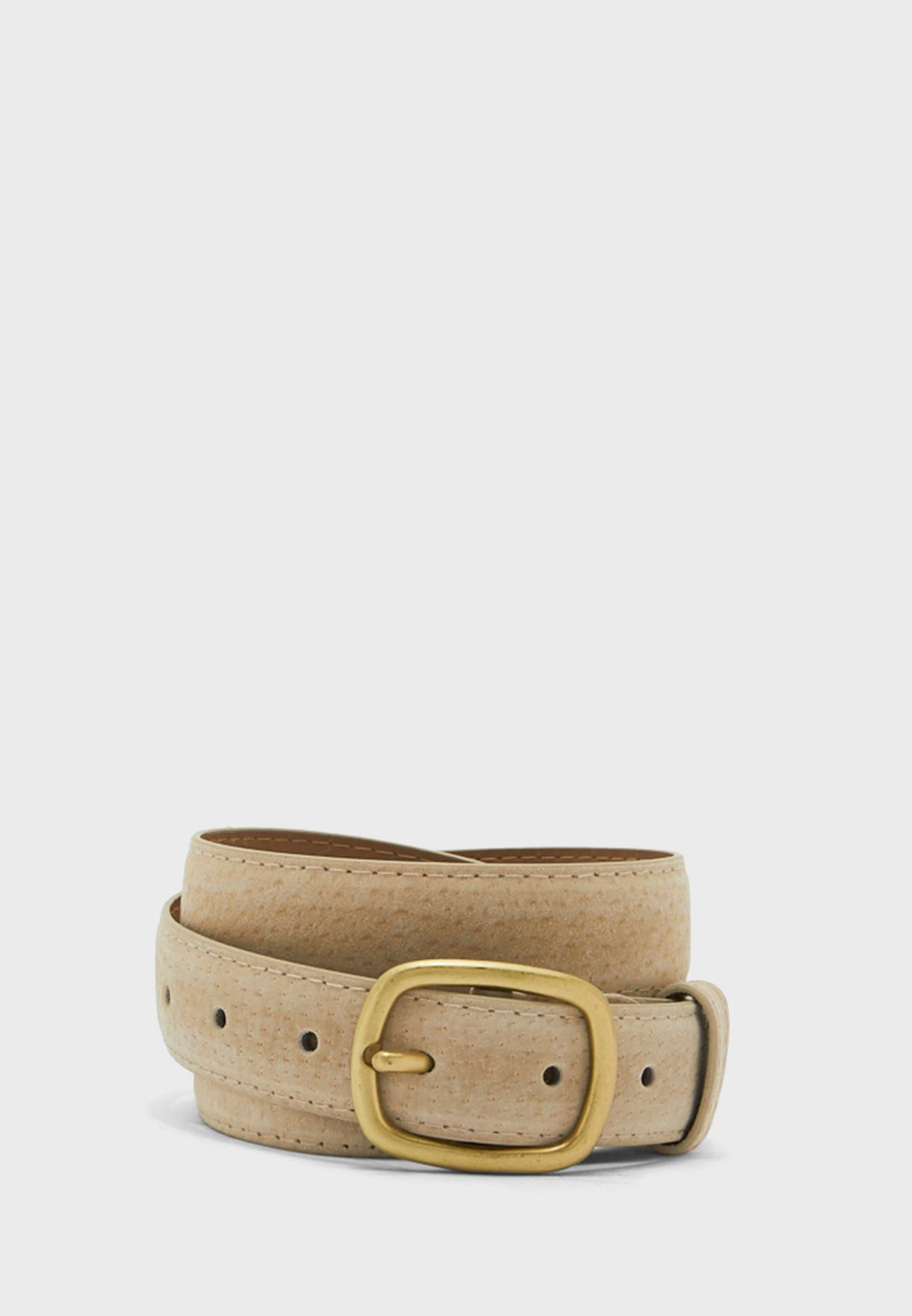 Leather Oblong Buckle Belt