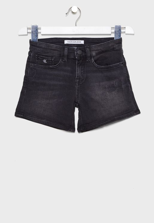Kids Roll Hem Distressed Denim Shorts