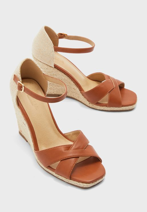 Cross Strap Espadrille Wedge Sandals