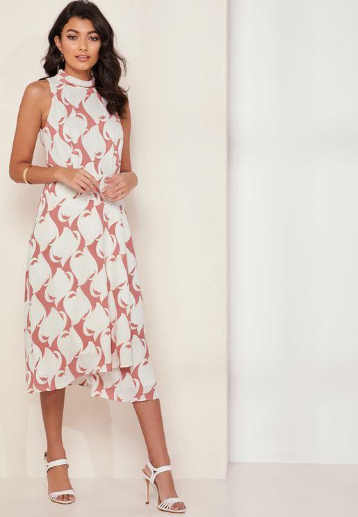 Doriana High Neck Printed Wrap Dress