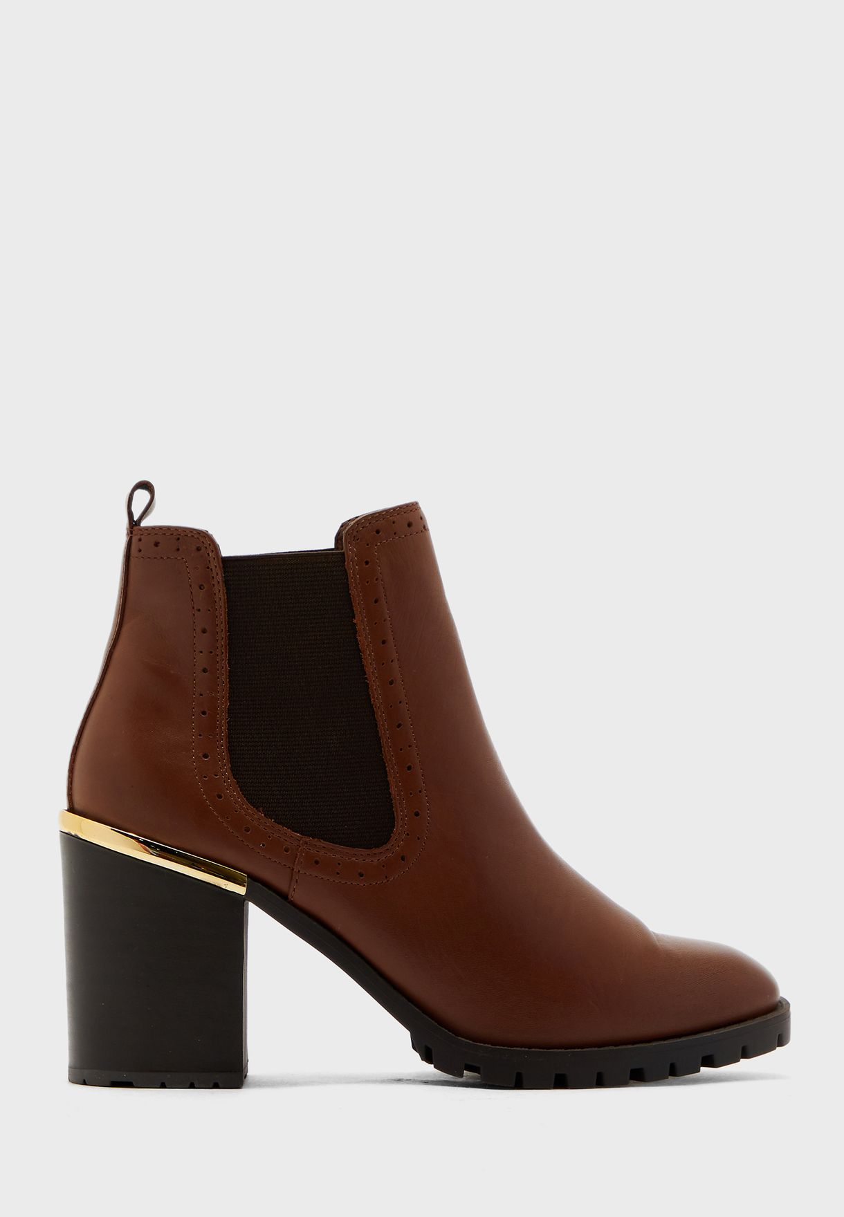Metal Trim Over Ankle Boot