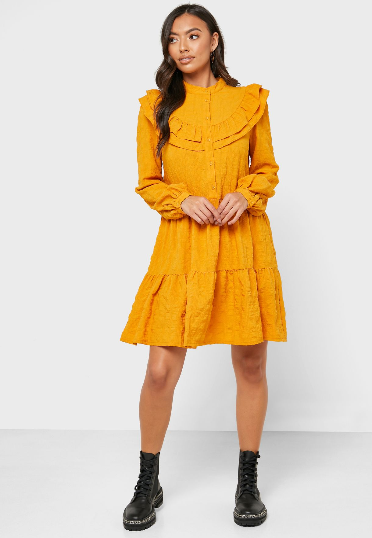 Ruffle Trim Placket Dress