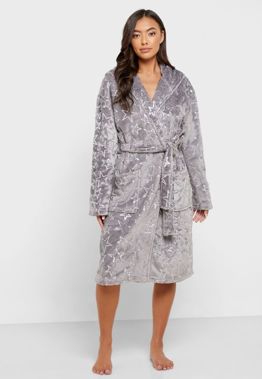 Star Print Belted Hooded Robe