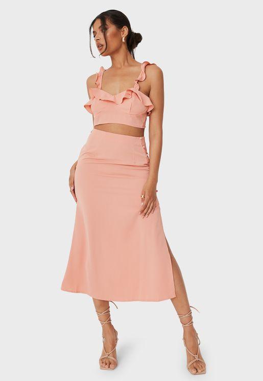 Button Side Midi Skirt