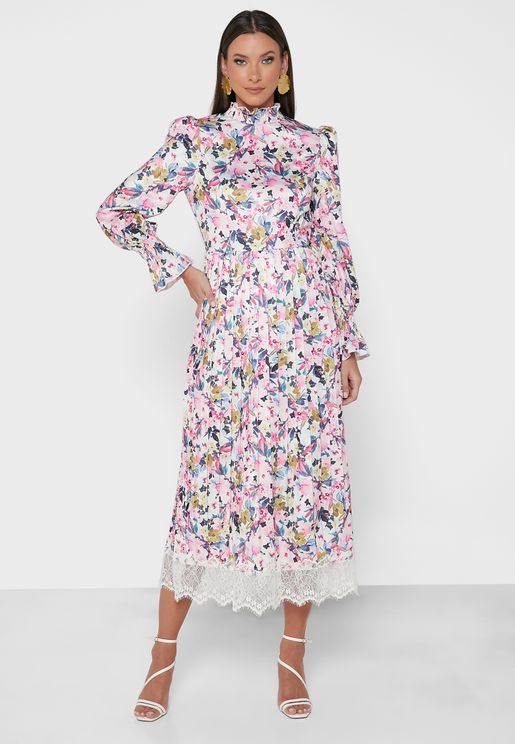 Floral Print Lace Detail Dress