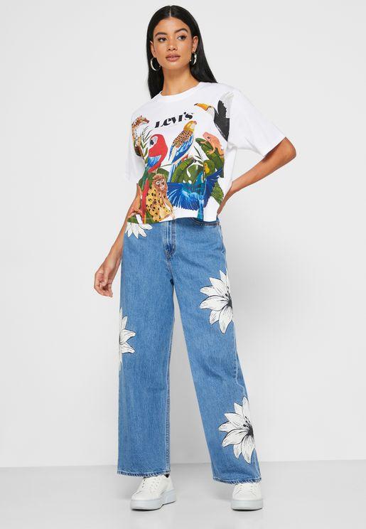 Farm Floral Print High Rise Jeans