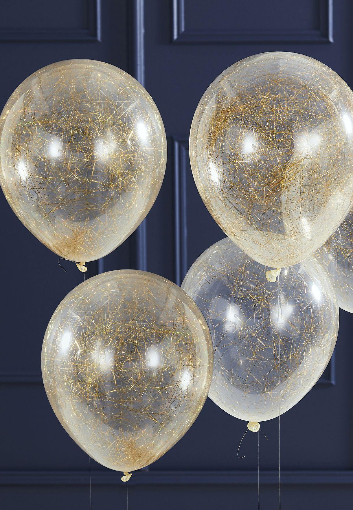 مجموعة بالونات مع خيوط ذهبية